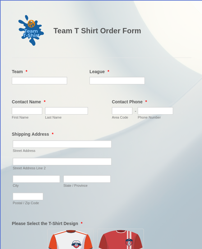 Team T Shirt Order Form