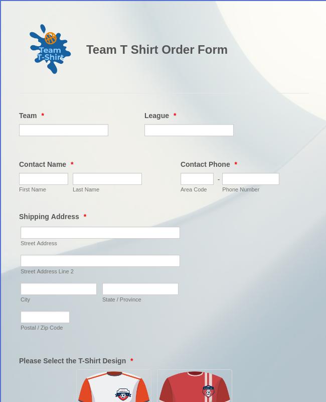 Team T Shirt Order Form