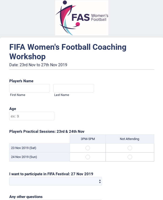 Coaching Workshop Application Form