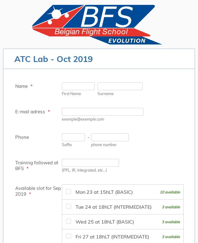 Flight School Training Registration Form