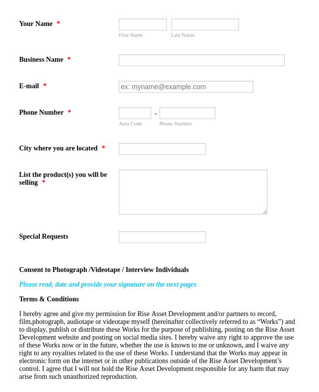 Event Vendor Registration Form