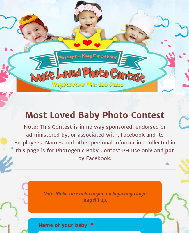 Baby Photo Contest Registration Form