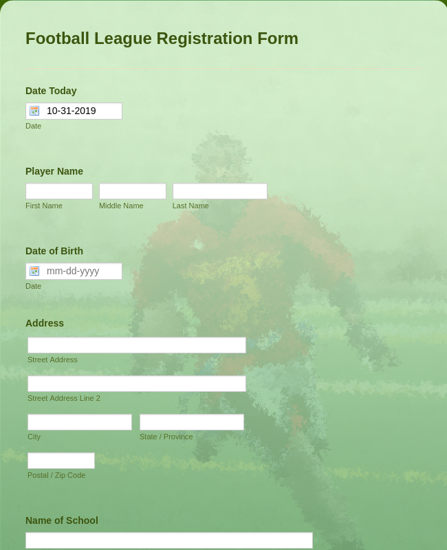 Football League Registration Form
