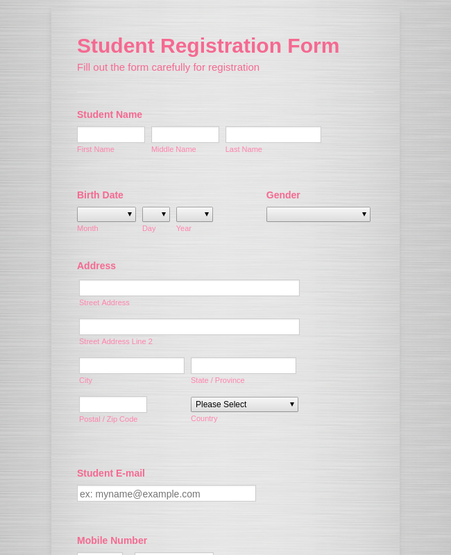 Student Enrollment Form