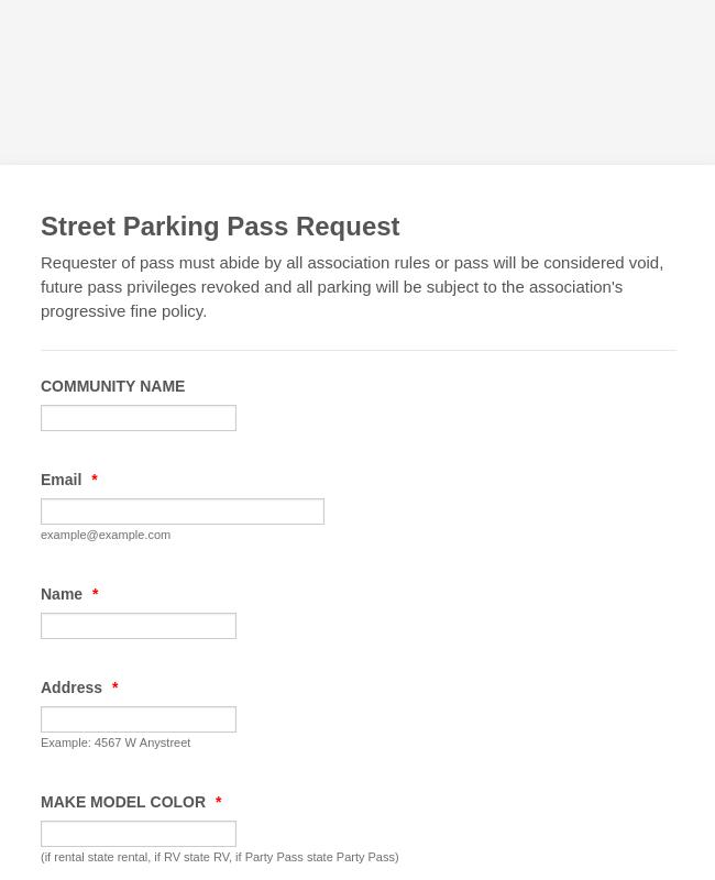 Parking Pass Request Form