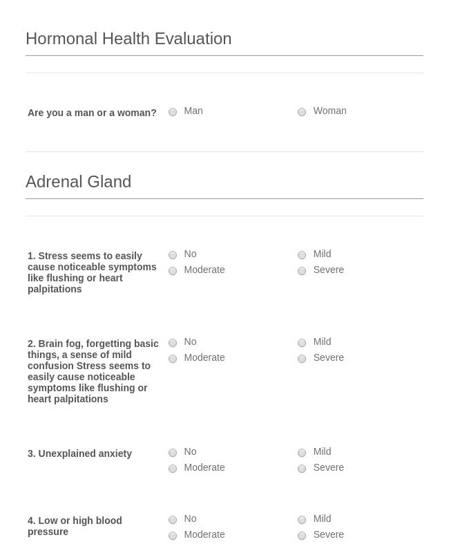 Hormonal Health Evaluation Form