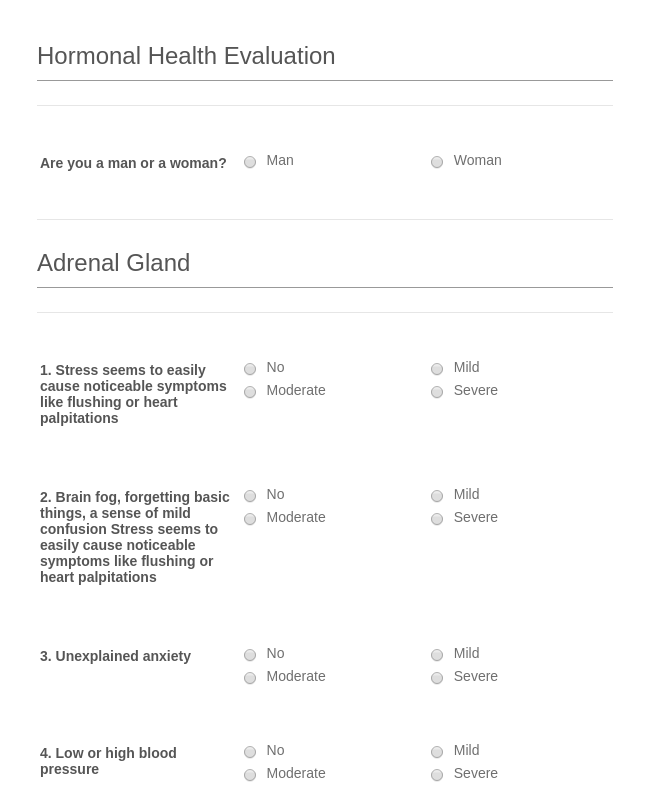 Hormonal Health Evaluation Form