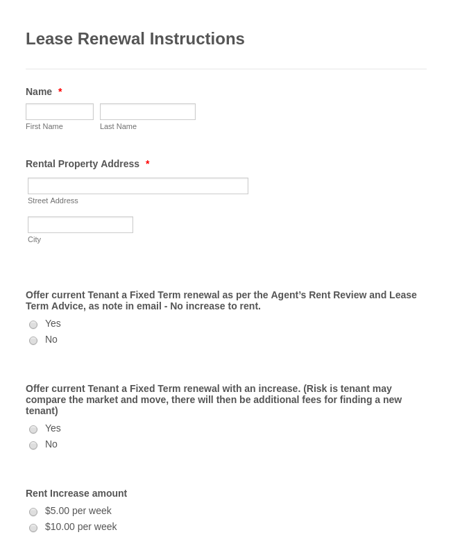 Lease Renewal Instructions Form