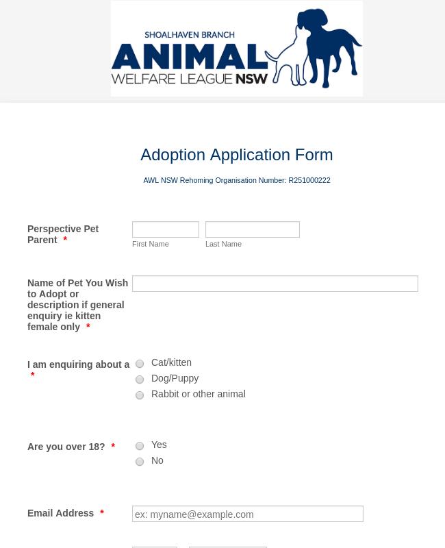 AWL NSW Branch Pet Adoption Application Form