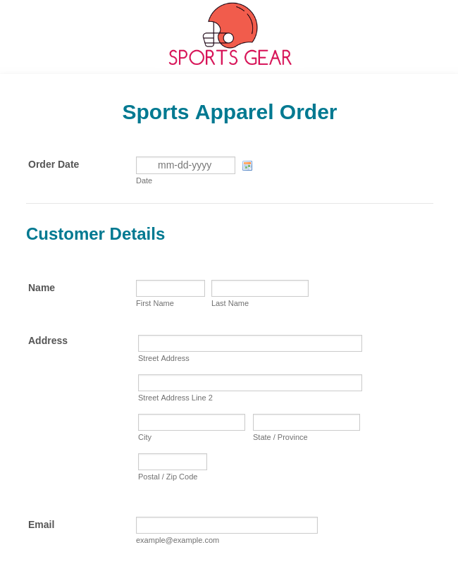 Sports Apparel Order Form