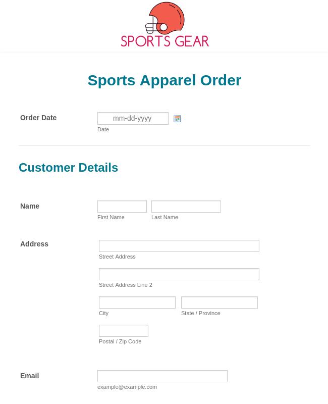 Sports Apparel Order Form