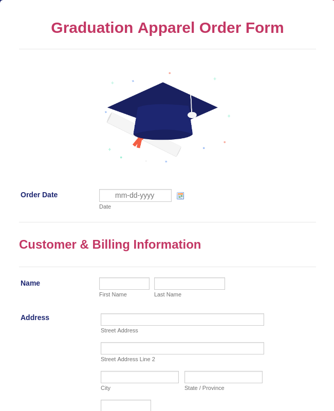 Graduation Apparel Order Form Template