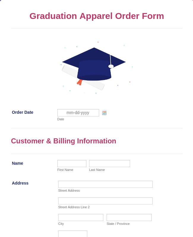 Graduation Apparel Order Form Template