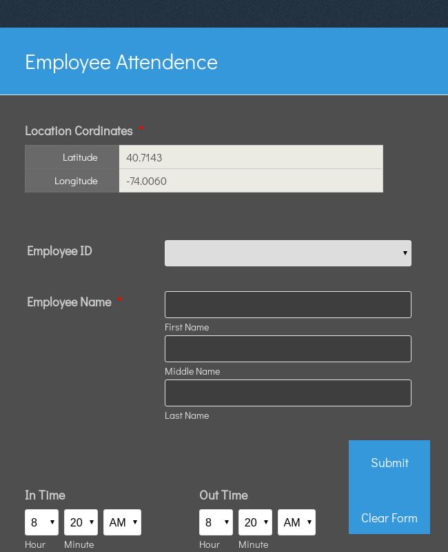 Employee Attendance Form