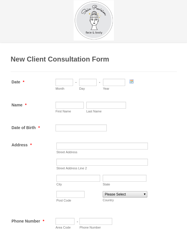 Skin Care Assessment Form