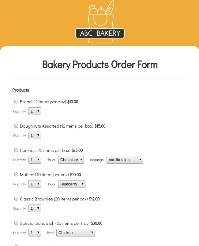 Bakery Products Order Form