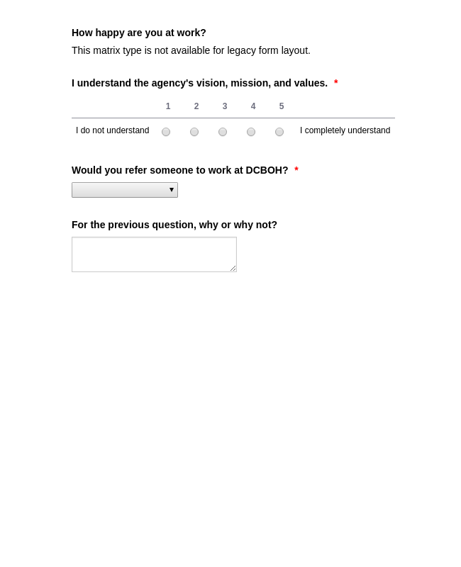 Employee Overall Satisfaction Survey Form