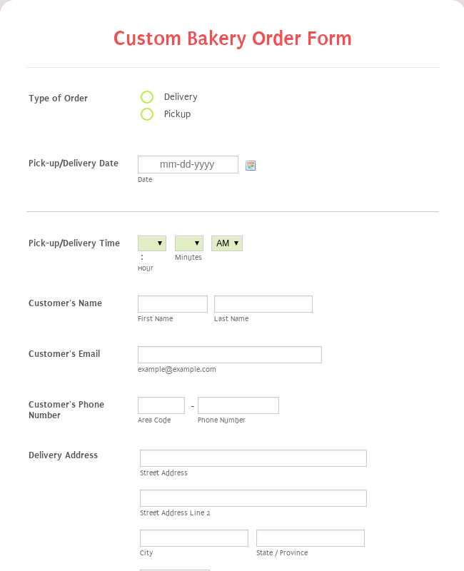 Custom Bakery Order Form