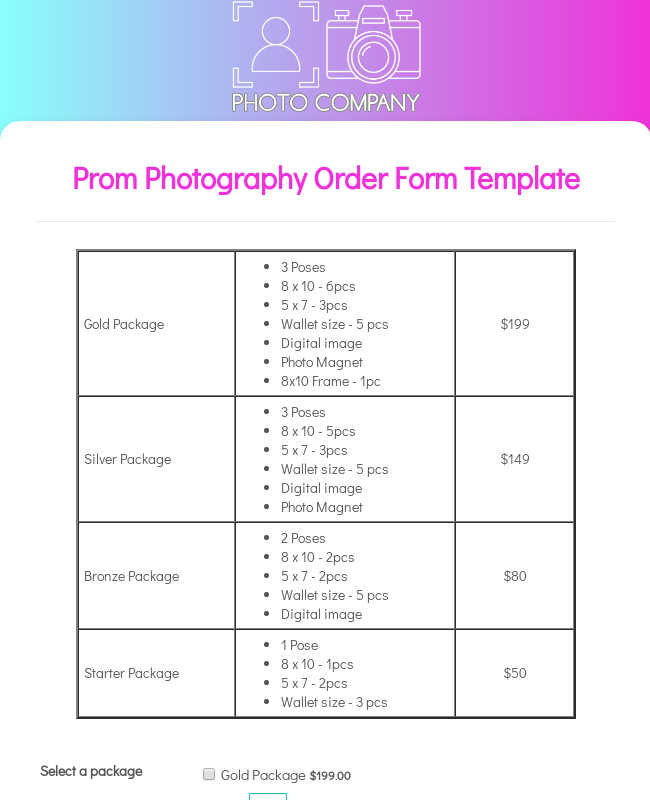 Prom Photography Order Form Template
