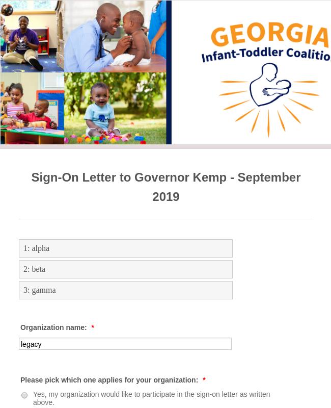 Sign-On Letter Form