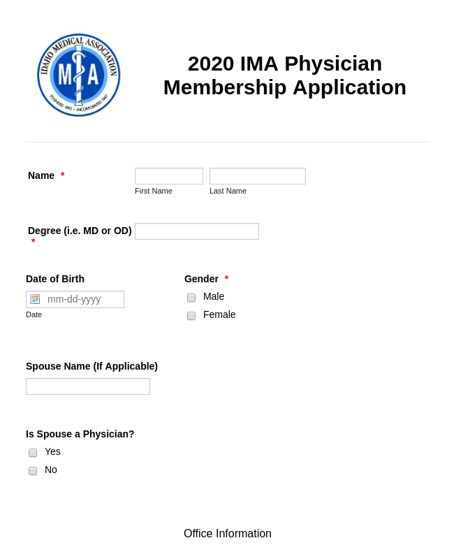 2020 IMA Physician Membership Application