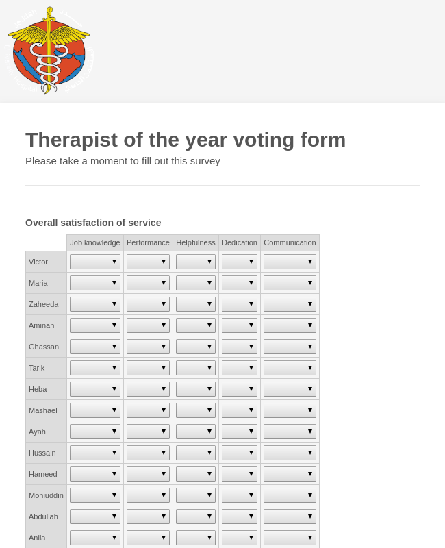 Therapist of the year Voting Form