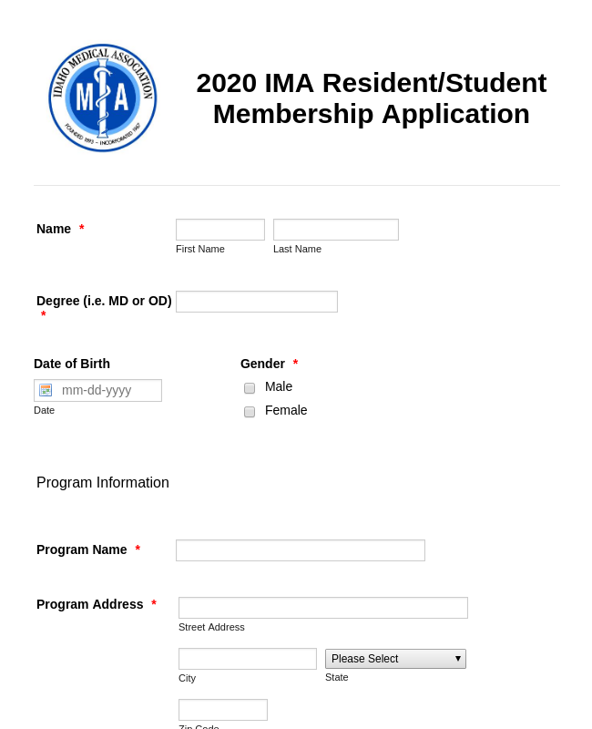 2020 IMA Resident/Student Membership Application