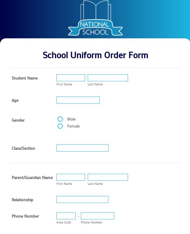 uniform order form  School Uniform Order Form Template | JotForm