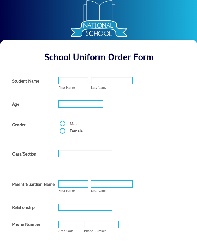 School Uniform Order Form