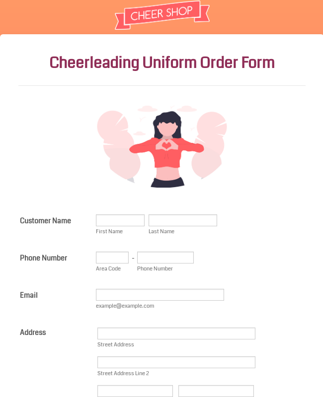 Cheerleading Uniform Order Form