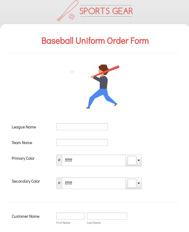 Baseball Uniform Order Form Template