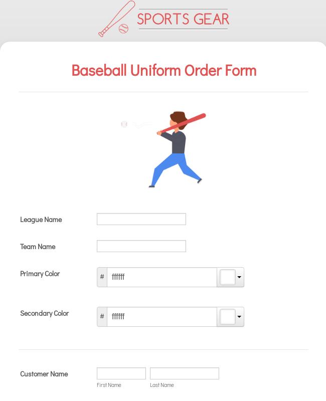 Baseball Uniform Order Form Template