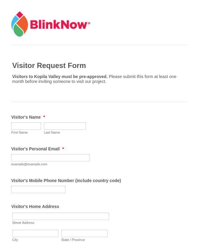 Visitor Request form