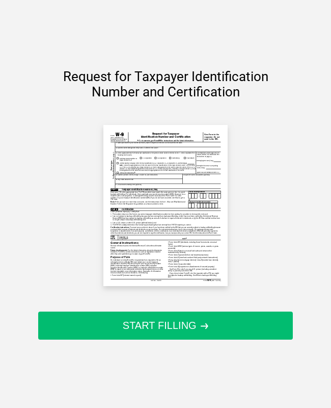Federal W9 Form Template