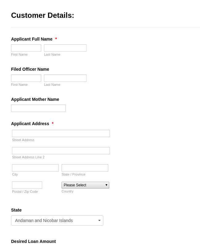 New Loan File Registration form
