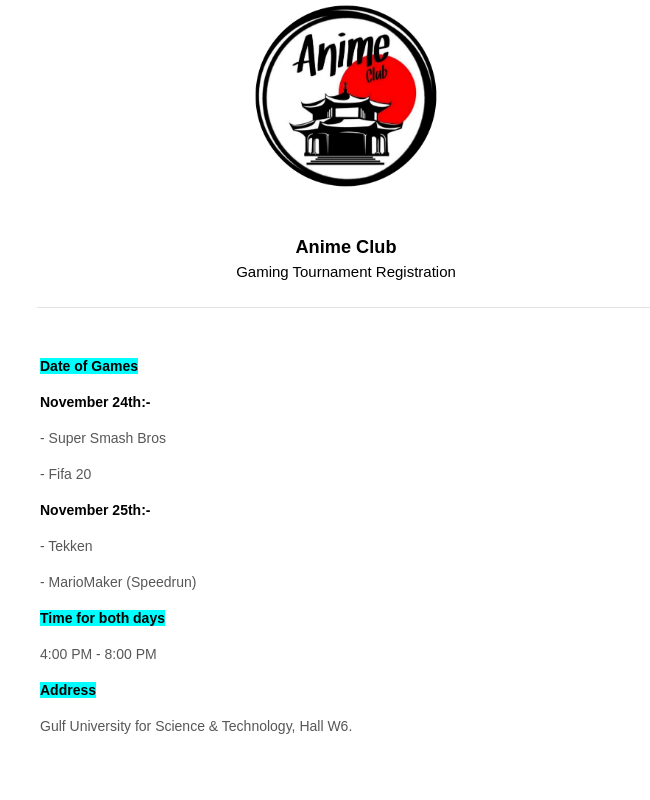 Gaming Tournament Registration Form