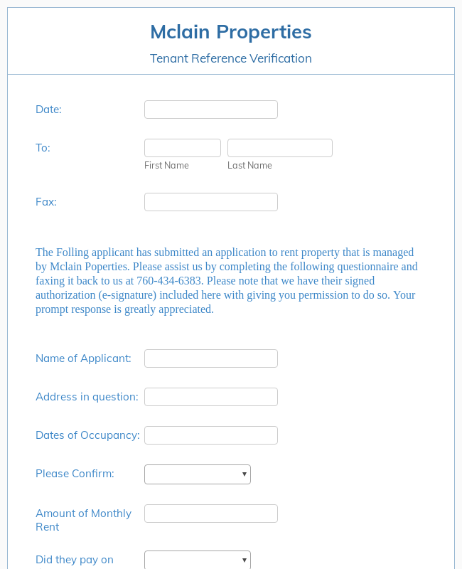 Tenant Reference Verification