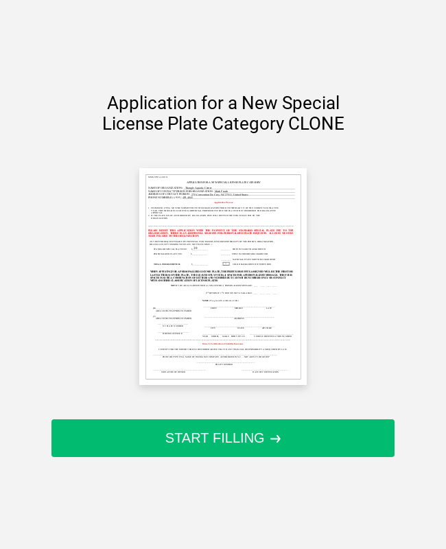 Application For A New Special License Plate Category CLONE