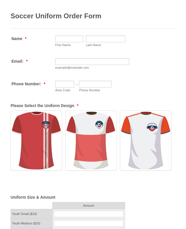 Soccer Uniform Order Form