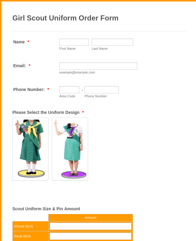 Girl Scout Uniform Order Form