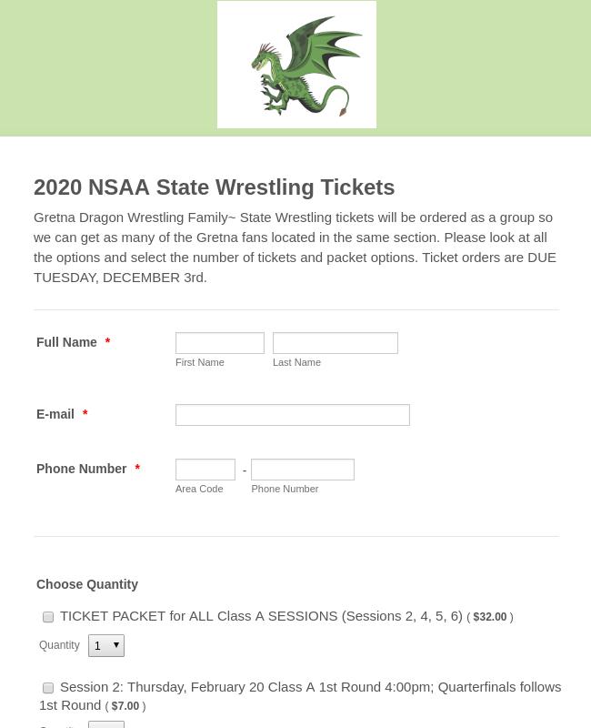 2020 NSAA State Wrestling Tickets