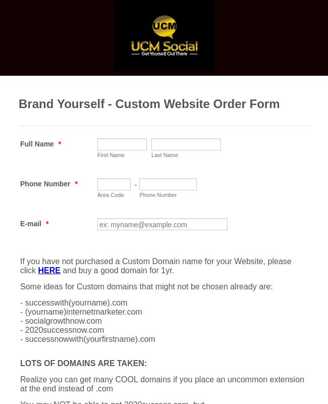 Website Order Form