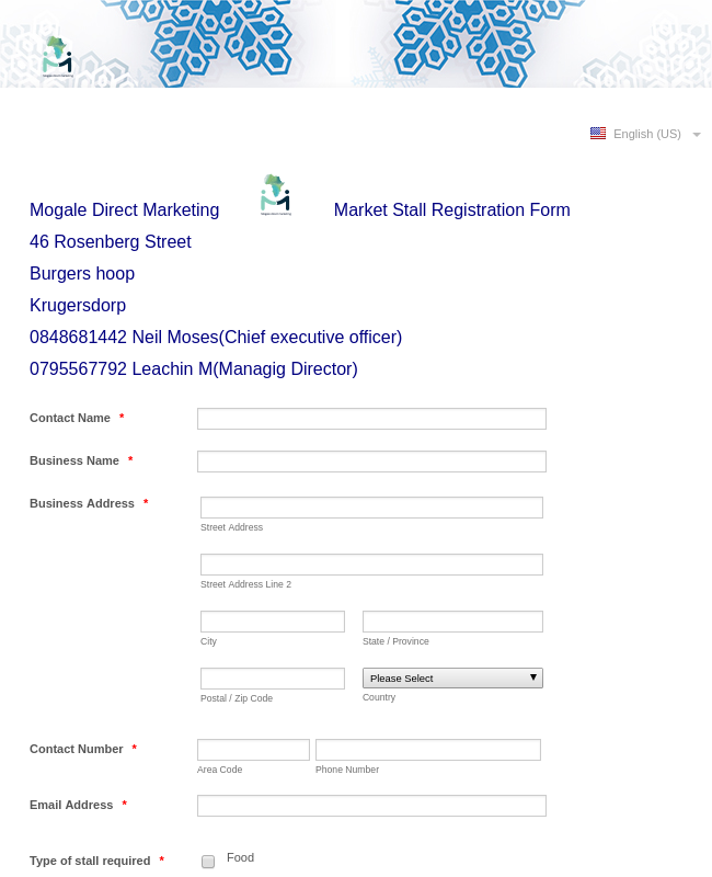 Market Registration Form