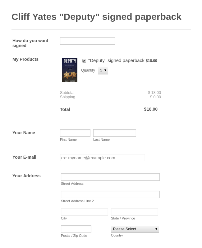 Signed Paperback Order Form