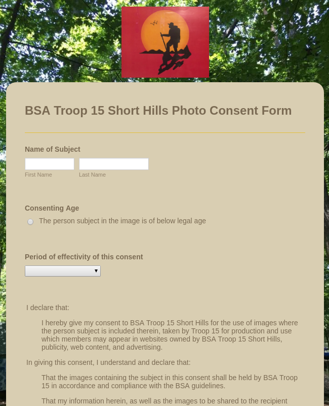 BSA Troop 15 Short Hills Photo Consent Form