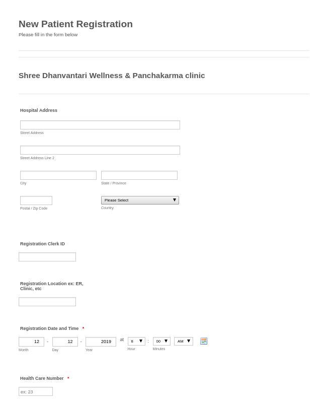 Hospital New Patient Registration Form