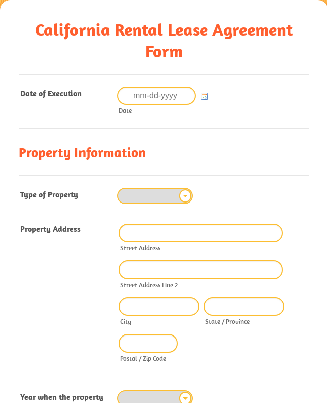 California Rental Lease Agreement Form