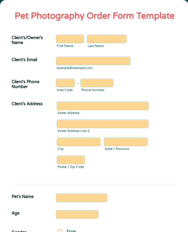 Pet Photography Order Form Template