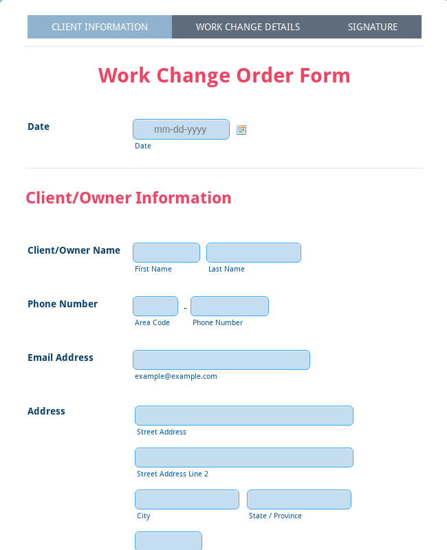 Work Change Order Form