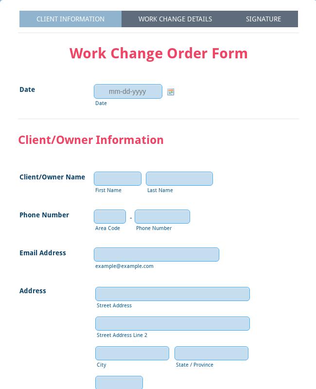 Work Change Order Form